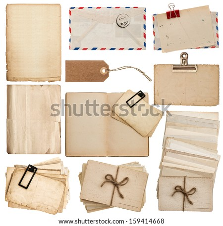 set of old paper sheets, book, envelope, postcards, tags isolated on white background - stock photo