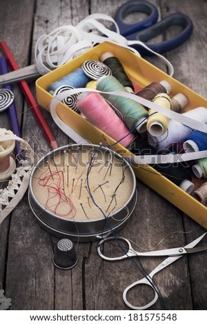 set of old seamstress for needlework - stock photo