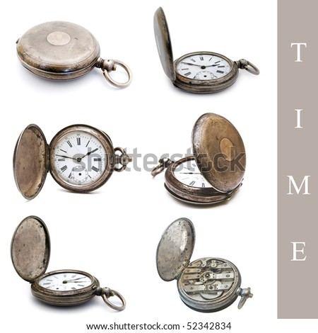 set of old silver pocket watches over the white background - stock photo