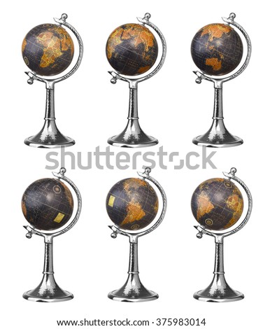 Set of old style world globes isolated on white background. Showing all continents - stock photo