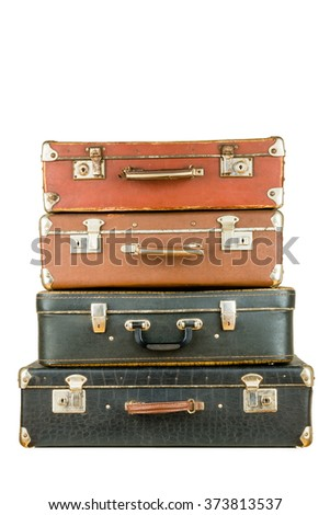 Set of old suitcases. Brown and black retro suitcase. Vintage baggage. Vintage travel bags.