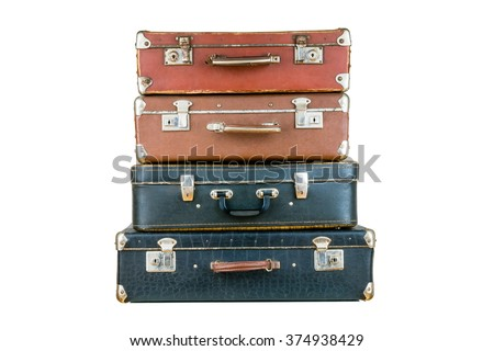 Set Old Suitcases Brown Black Retro Stock Photo 374938429 ...