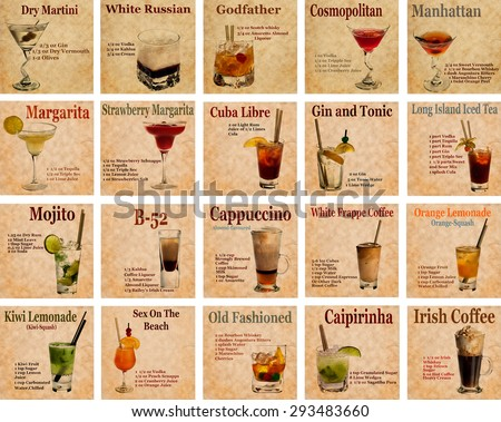 Set of Old,vintage or grunge  Recipe Notebook with different  cocktails on the page.Room for text - stock photo