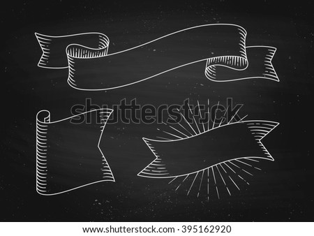 Set of old vintage ribbon banners in engraving style on a black chalkboard background and texture. Hand drawn design element. Illustration - stock photo