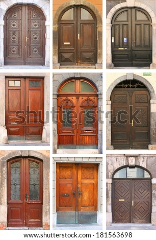Set of old wooden doors of bourgeois houses in old european town Ljubljana, Slovenia