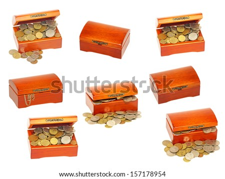Set of old wooden treasure casket with money isolated on white background.