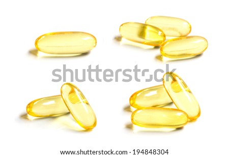 Set of Omega 3 capsules from Fish Oil on white background