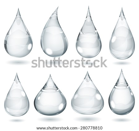 Set of opaque drops in gray colors - stock photo