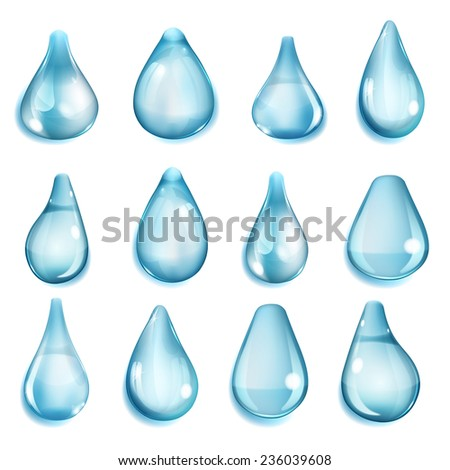Set of opaque drops of different forms in light blue colors - stock photo