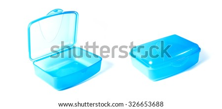 Set Of Open And Closed Plastic Lunchbox Isolated On White - stock photo