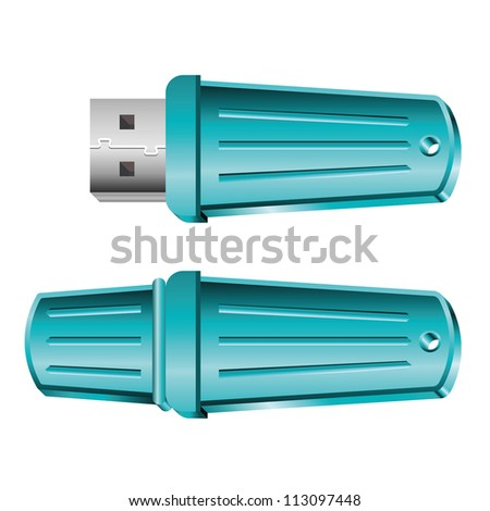Set of opened and closed blue USB memory sticks. Raster version of the vector image - stock photo