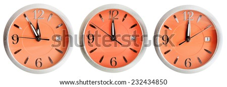 set of orange clock faces with midnight time isolated on white background - stock photo