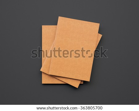 Set of orange color notebooks on the dark background. 3d render - stock photo
