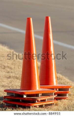 Set of orange cones - stock photo
