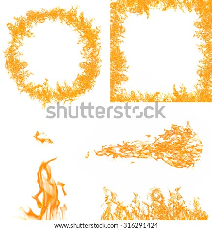 set of orange flame elements collection isolated on white background