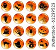 Set of 16 orange halloween buttons (jpg); vector version also available - stock photo
