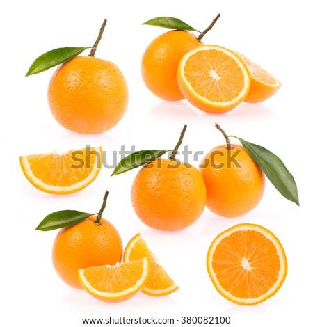 Set of orange isolated on white background - stock photo