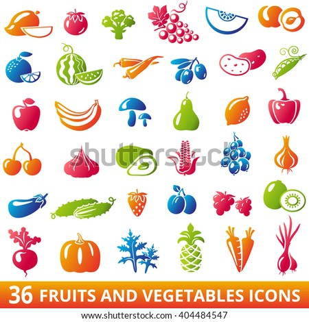 Set of organic fruits and vegetables icons: banana, apple, lemon, pear, cherry, corn, avocado, cucumber, plum, strawberry, garlic, carrots, pumpkin. Fruits and vegetables Icons illustration