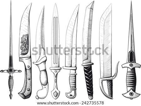 Set of Oriental and European Daggers - stock photo