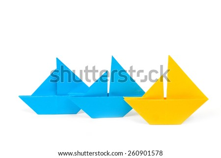 set of origami boats - stock photo