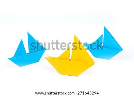 set of origami boats - stock photo