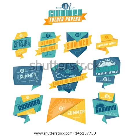 Set of origami styled summer related labels. Vector EPS version (with crumpled paper texture) also available in portfolio. - stock photo