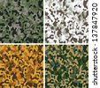 Set of original camouflage seamless patterns. Raster version of vector file. - stock photo