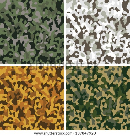 Set of original camouflage seamless patterns. Raster version of vector file.