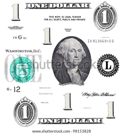 set of original detail 1 $ dollars, with Washington, isolated on white background - stock photo
