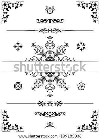set of ornament dividers design elements corners - stock photo