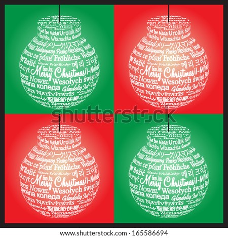 Set of Ornament Made from Merry Christmas Translations - stock photo