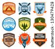 Set of outdoor adventure badges and hunting emblems - stock vector