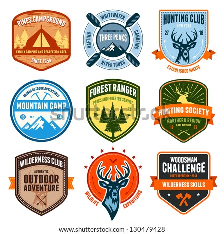 Set of outdoor adventure badges and hunting emblems - stock photo