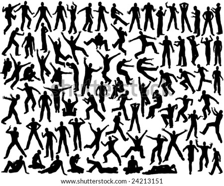 Set of outlines of men in various poses (vector file also available)