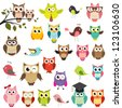 set of owls. Raster version - stock vector