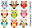 set of owls. Raster version. - stock vector