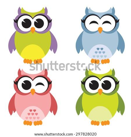 Set of owls. Raster version - stock photo
