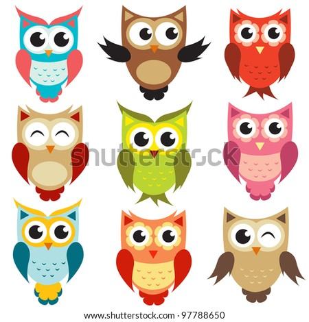 set of owls. Raster version. - stock photo