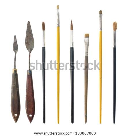 Set of paint brushes isolated on the white background. - stock photo