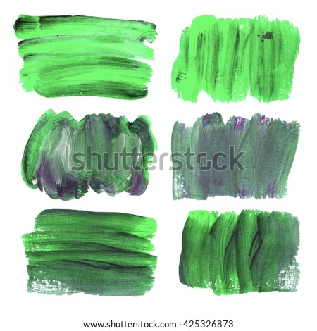 Set of paint stains, abstract shape, bright color stain for text. Bright green