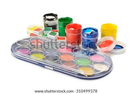 Set of paints isolated on white - stock photo