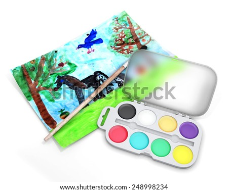 Set of paints with a brush on the background of children's drawing. 3d render image. - stock photo