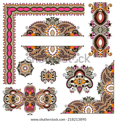 set of paisley floral design elements for page decoration, frame, corner, divider, circle snowflake, stripe pattern, raster version - stock photo