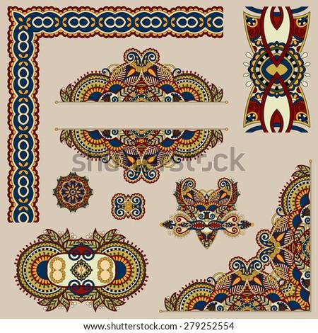 set of paisley floral design elements for page decoration, frame, corner, divider, circle snowflake, stripe pattern, illustration in beige color, raster version - stock photo