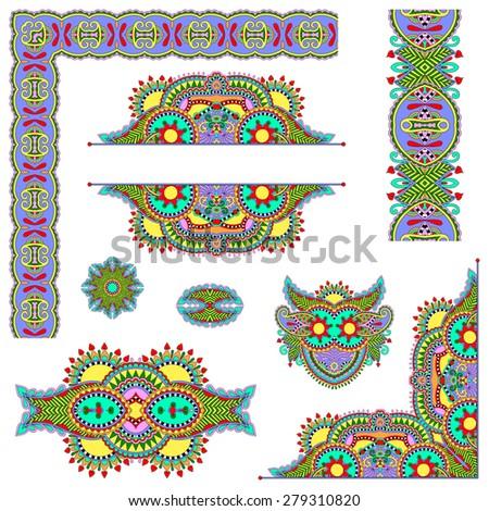 set of paisley floral design elements for page decoration, frame, corner, divider, circle snowflake, stripe pattern,  raster version illustration - stock photo