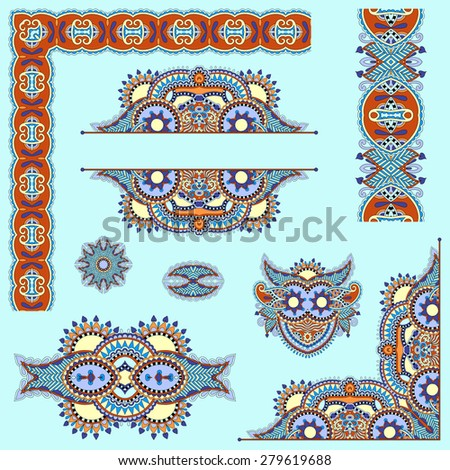 set of paisley floral design elements for page decoration, frame, corner, divider, circle snowflake, stripe pattern,  raster version illustration in blue color - stock photo