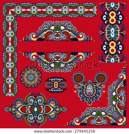 set of paisley floral design elements for page decoration, frame, corner, divider, circle snowflake, stripe pattern,  raster version illustration on red background - stock photo
