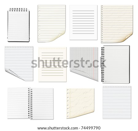 Set of Paper Items isolated on white - stock photo