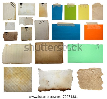set of paper notes isolated on white background