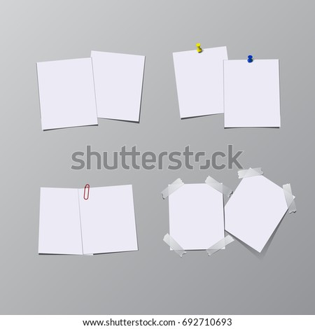 Set of paper sheets with pin, adhesive tape and clip isolated on gray background. Raster copy.